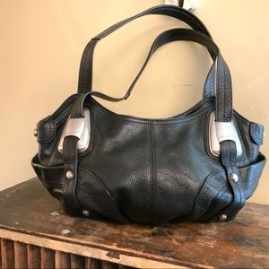 B. Makowsky black leather hobo shoulder purse